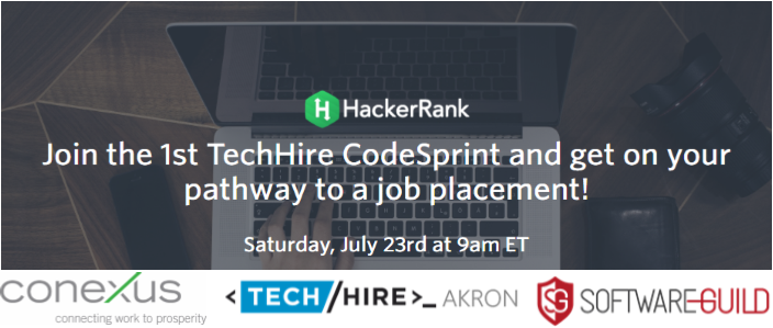 TechHire CodeSprint - July 23, 2016 - https://www.eventbrite.com/e/techhire-codesprint-at-the-software-guild-tickets-26377161801